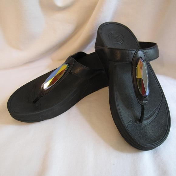 035868bfd Fitflop Shoes - FitFlop Chada Black Gem Platform Sandals Size 6